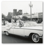 Maroon and White Parade. L to R Back seat, Virginia West, Frankie Powell  Front R  Don Hires class of '59.